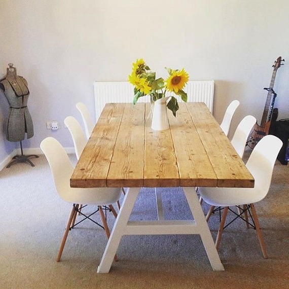 White 8 Seater Dining Tables For Most Up To Date Reclaimed Industrial Chic A Frame 6 8 Seater Dining Table (View 11 of 20)