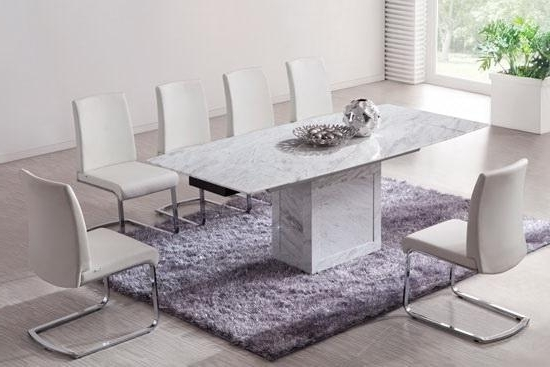 White/brown Extending Dining Table (Marble) – Kk Furniture Supplier With Regard To Well Known Extending Marble Dining Tables (View 15 of 20)