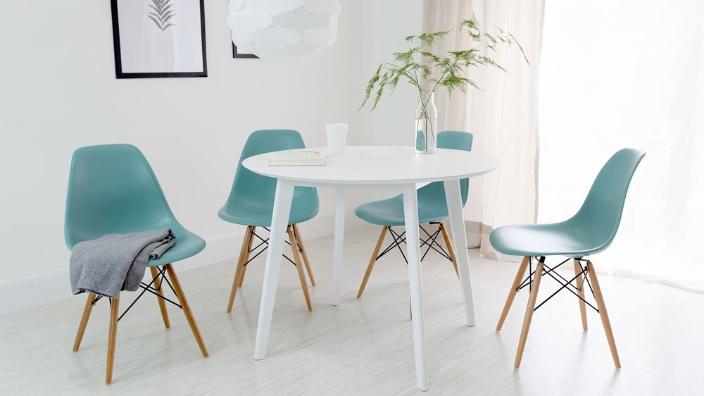 White Circle Dining Tables Regarding Preferred Round White Dining Table And Eames Dining Chair Set (View 16 of 20)