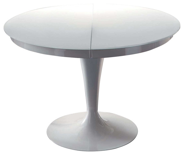 White Circular Dining Tables Inside 2018 Elise Circular Dining Extendable Table – Midcentury – Dining Tables (View 18 of 20)