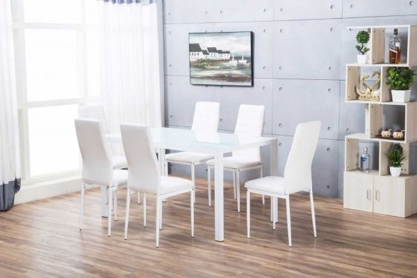 White Dining Tables For Most Recent Designer Rectangle White Dining Table & 6 Chairs Set (View 14 of 20)