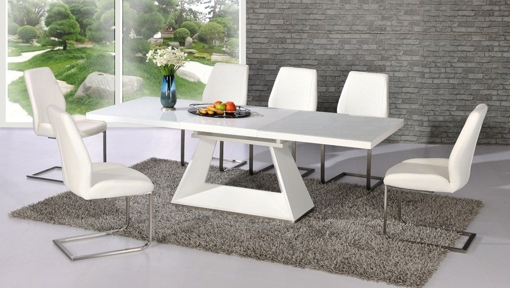 White Dining Tables With 6 Chairs For Most Recently Released Amsterdam White Glass And Gloss Extending Dining Table 6 Chairs (View 5 of 20)