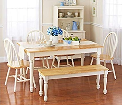 White Dining Tables With 6 Chairs Inside Trendy Amazon – White Dining Room Set With Bench (View 9 of 20)