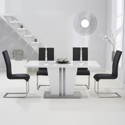 White Dining Tables With 6 Chairs Within Favorite Vegas High Gloss White Dining Table With 6 Milan Black Chairs (View 12 of 20)