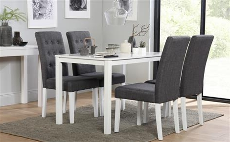 White Dining Tables With Regard To Fashionable Milton White Dining Table And 4 Java Chairs Set Only £ (View 13 of 20)