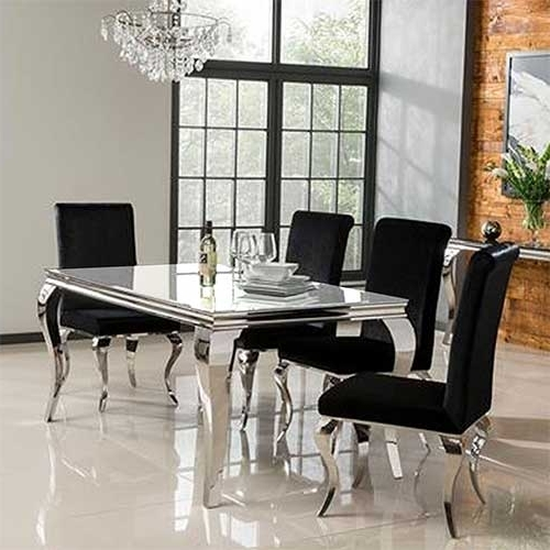 White Dining Tables Within Well Liked Louis 160Cm White Dining Table Set With 4 Silver Velvet Louis Chairs (View 19 of 20)