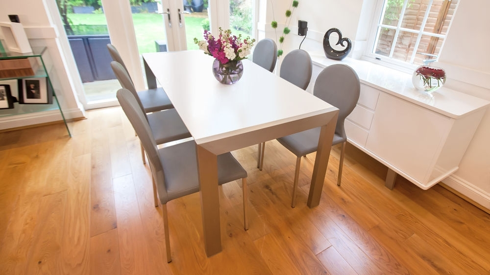 White Extendable Dining Tables And Chairs With Regard To Favorite Matt White Extending Dining Table (View 17 of 20)