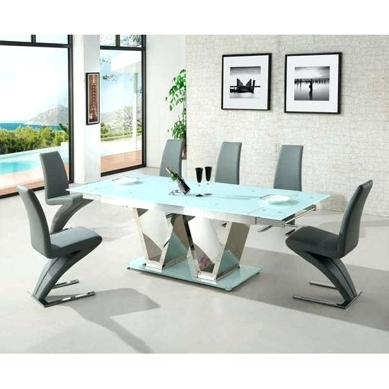 White Glass Dining Table Extending Memory Extendable Grey Glass Throughout Famous Extendable Glass Dining Tables And 6 Chairs (View 19 of 20)