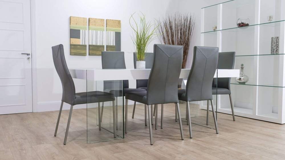 White Glass Dining Tables And Chairs In Most Recent Funky Modern White Oak And Glass Dining Table And Real Leather Chairs (View 13 of 20)