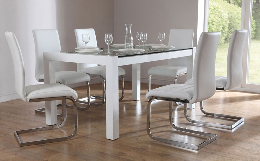 White Glass Dining Tables And Chairs Inside Well Known Glass Dining Table Chairs Glass Dining Sets Furniture Choice (View 7 of 20)