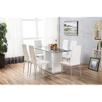White Glass Dining Tables And Chairs Intended For Latest Furniturebox Uk Florence High Gloss White Glass Dining Table Set And (View 10 of 20)