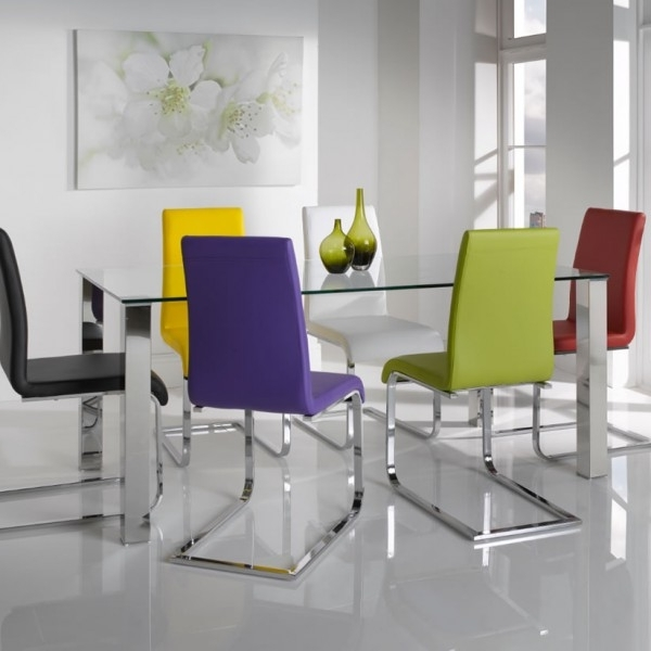 White Glass Dining Tables And Chairs Regarding Most Recent Barletto Clear Glass Dining Table And Chairs – 5 Day Express Uk Delivery (View 12 of 20)