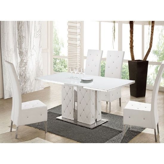 White Gloss And Glass Dining Tables With Regard To Favorite Levo Glass Dining Table In And White Gloss With 4 Asam (View 17 of 20)
