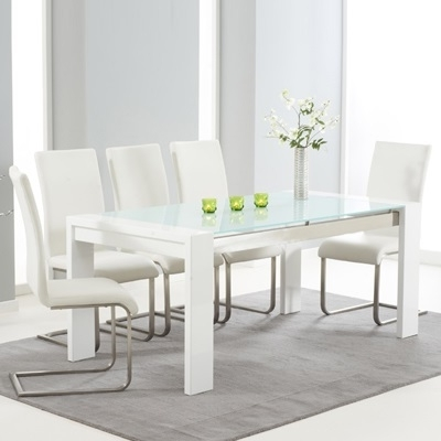 White Gloss And Glass Dining Tables With Regard To Widely Used Selina White Gloss And Glass Dining Table With 6 Milan Ivory Chairs (View 18 of 20)