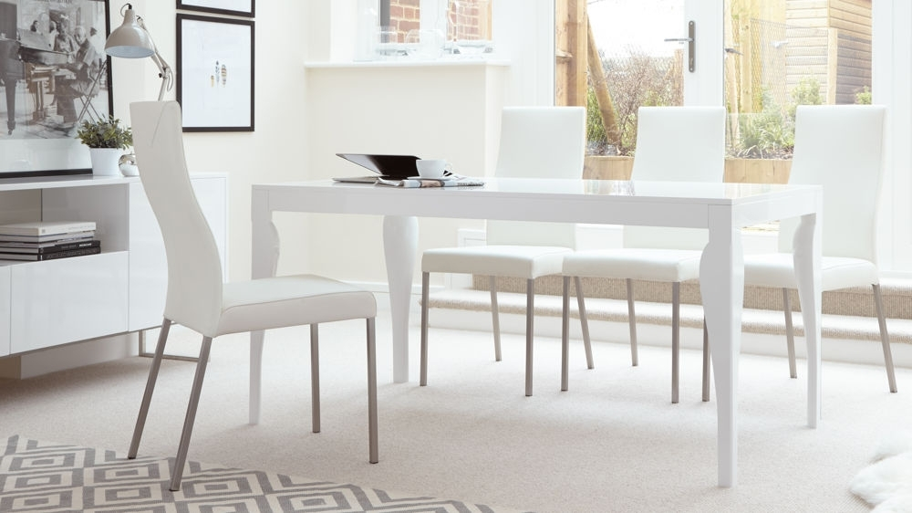 White Gloss Dining Room Tables Regarding Popular Eva White Gloss Dining Room Table Good Oak Dining Table (View 15 of 20)