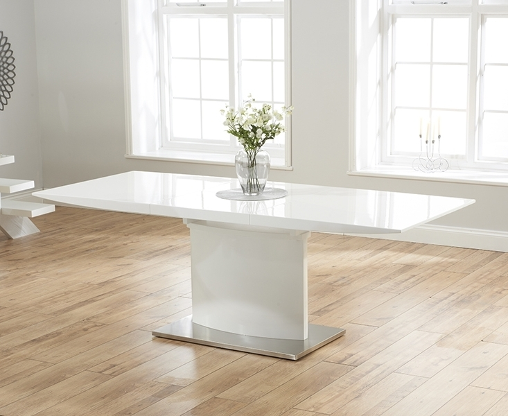 White Gloss Dining Sets For Newest Buy Mark Harris Hayden White High Gloss Dining Set – 160cm (View 15 of 20)