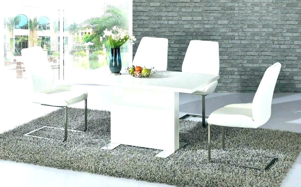 White Gloss Dining Table High Gloss Glass Dining Table White Gloss Pertaining To Widely Used Gloss Dining Tables Sets (View 20 of 20)