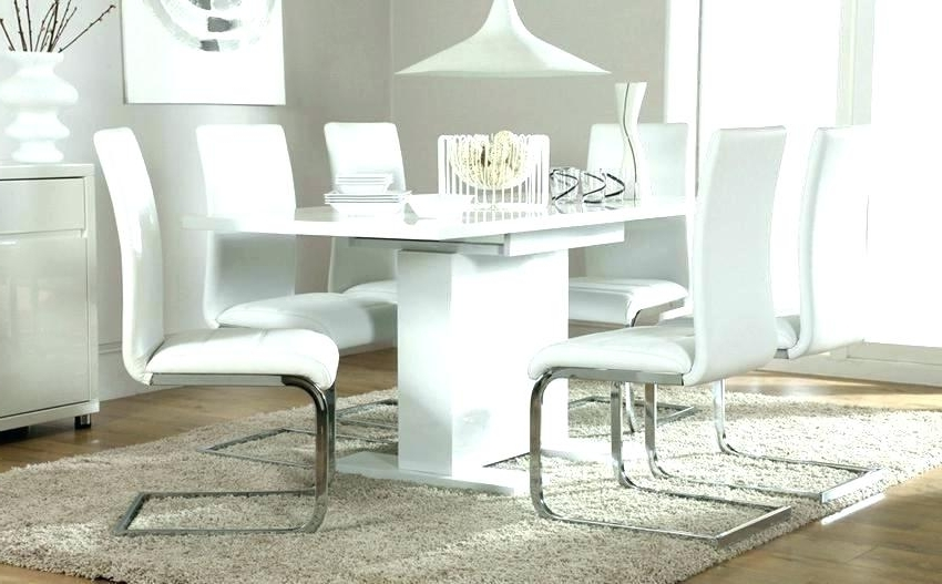 White Gloss Dining Table Set White Gloss Dining Table And Real With Newest White Gloss Dining Tables Sets (View 19 of 20)