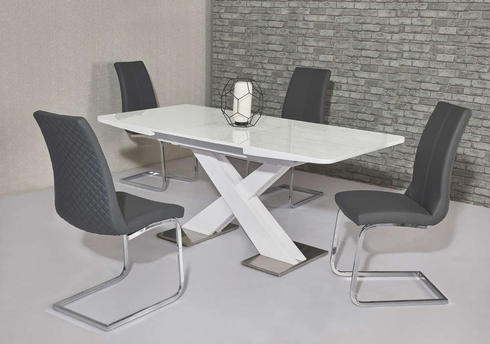 White Gloss Dining Tables 120Cm In Fashionable 120Cm White High Gloss Dining Table & 4 Grey Chairs – Homegenies (View 10 of 20)