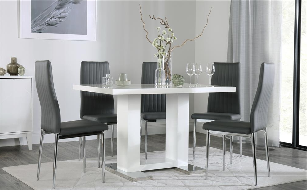 White Gloss Dining Tables 120Cm In Newest Joule White High Gloss Dining Table With 6 Leon Grey Chairs Only (View 12 of 20)