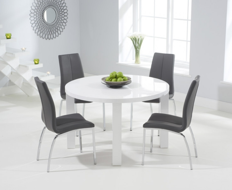 White Gloss Dining Tables 120Cm Within Latest Atlanta 120Cm Round White High Gloss Dining Table With Cavello (View 19 of 20)
