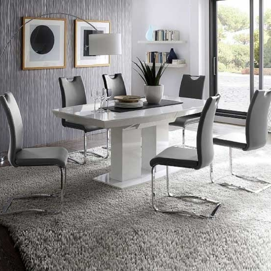 White Gloss Dining Tables 140Cm Regarding Most Recently Released Genisimo High Gloss Dining Table With 6 Grey Koln Chairs (View 19 of 20)