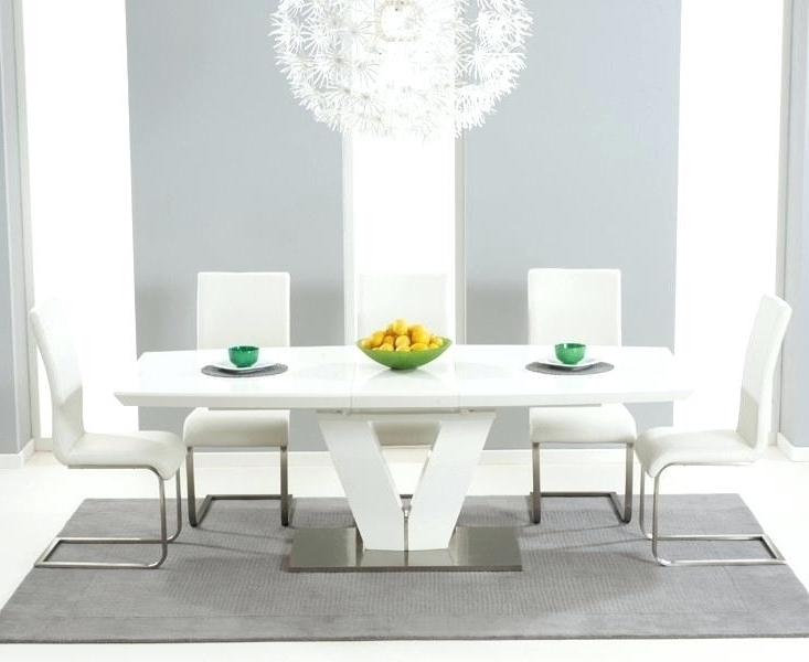 White Gloss Extending Dining Table Mid Century Modern Extending With Regard To Latest White Gloss Dining Sets (View 17 of 20)
