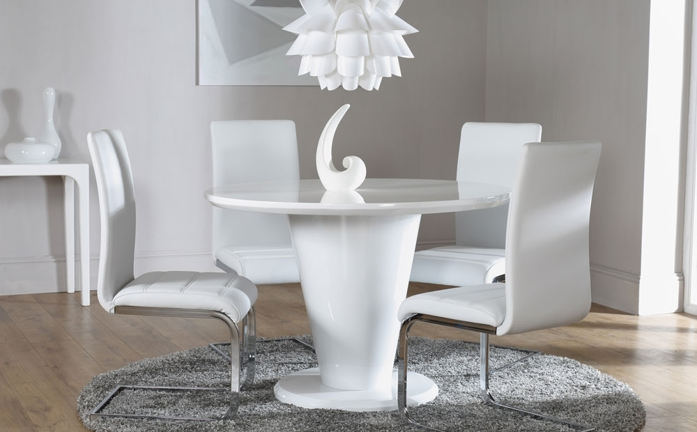 White Gloss Round Extending Dining Tables Regarding Current Paris White High Gloss Round Dining Table And 4 Chairs Set, White (View 15 of 20)
