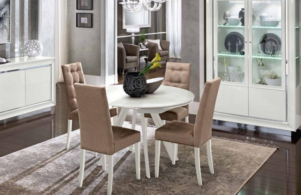White Gloss Round Extending Dining Tables Throughout 2017 Bianca White High Gloss & Glass Round Extending Dining Table 1.2 (View 14 of 20)