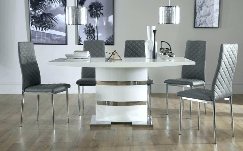 White High Gloss Dining Tables 6 Chairs Regarding Most Up To Date Hi Gloss Dining Table 4 Grey Dining Table High Gloss Dining Table (View 14 of 20)