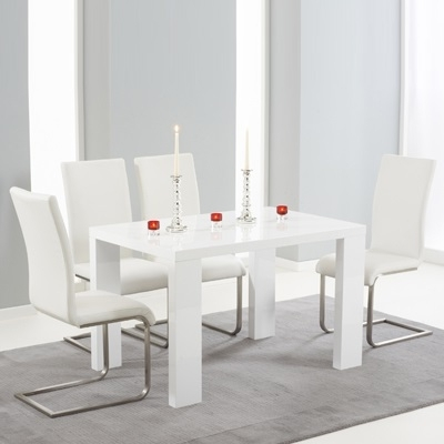 White High Gloss Dining Tables And 4 Chairs Intended For Newest Metro High Gloss White 120Cm Dining Table With 4 Milan White Chairs (View 18 of 20)