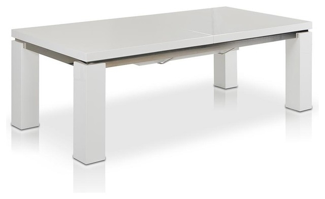 "White High Gloss Dining Tables For Recent Maxi 78"" 126"" High Gloss White Extendable Dining Table – Modern (View 17 of 20)"