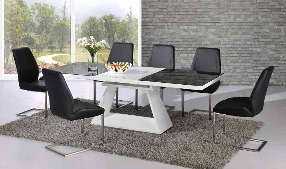 White High Gloss Extending Dining Table With 8 Chairs – Glass Top Intended For Well Known Extendable Dining Tables With 8 Seats (View 20 of 20)
