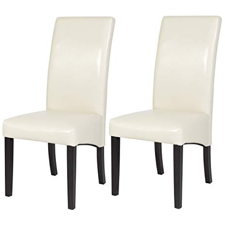 White Leather Dining Chairs In Fashionable Amazon – Best Choice Products Set Of (2) White Leather Dining (View 17 of 20)