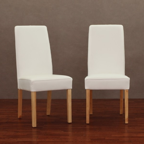 White Leather Dining Chairs Intended For Favorite White Leather Chairs Modern Dining Chair Set Of 2 — The Home (View 18 of 20)