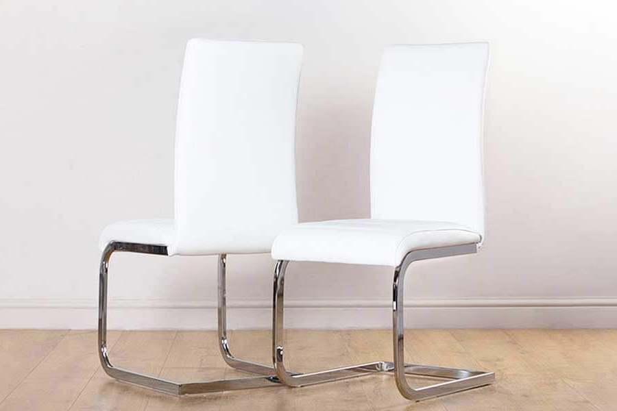 White Leather Dining Chairs With Regard To Well Known White Leather Dining Chairs (View 20 of 20)