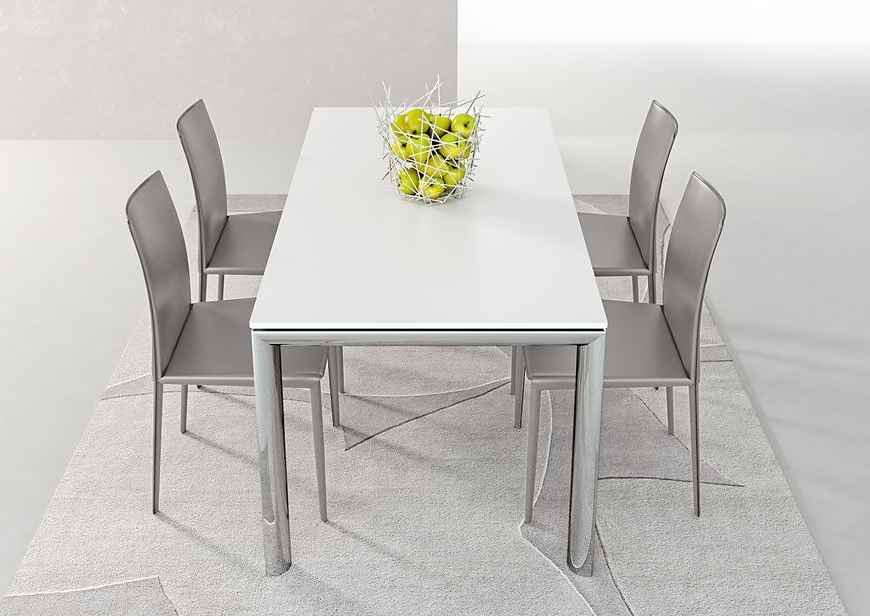White Melamine Dining Tables With Regard To Trendy Contemporary Dining Table / Metal / Stained Wood / Melamine – Trilo (View 17 of 20)