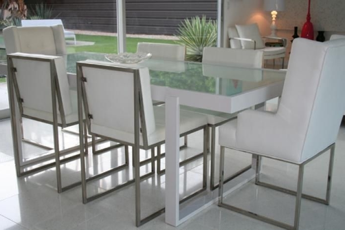 White Metal And Frosted Glass Dining Table (View 20 of 20)