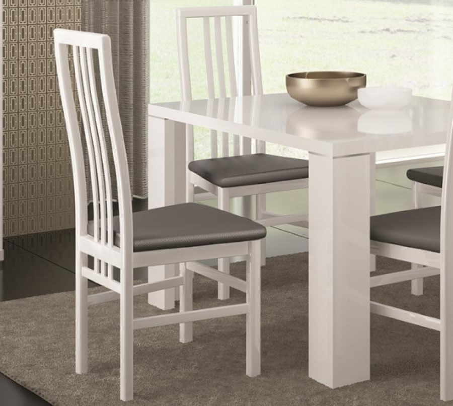 White Or Black High Gloss Modern Dining Chairs With Grey Faux Regarding Well Known White Gloss Dining Chairs (View 20 of 20)