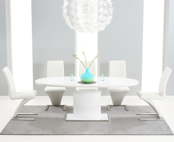 White Oval Extending Dining Tables With Regard To Well Known Santana 160Cm White High Gloss Extending Pedestal Dining Table With (View 18 of 20)