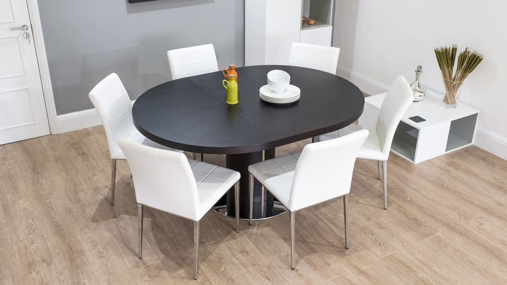 White Round Extending Dining Tables For Widely Used Dark Wood Round Extending Dining Table (View 16 of 20)