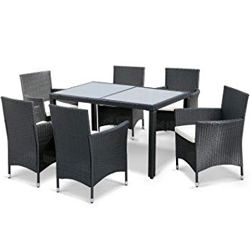 Wicker And Glass Dining Tables Pertaining To Most Up To Date Leisure Zone 7 Pieces Luxury Garden Dining Table And Chairs Outdoor (View 15 of 20)