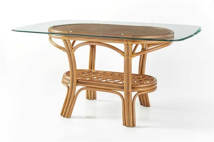 Wicker And Glass Dining Tables Pertaining To Trendy South Sea Rattan Palm Harbor Wicker Oval Glass Dining Table (View 9 of 20)