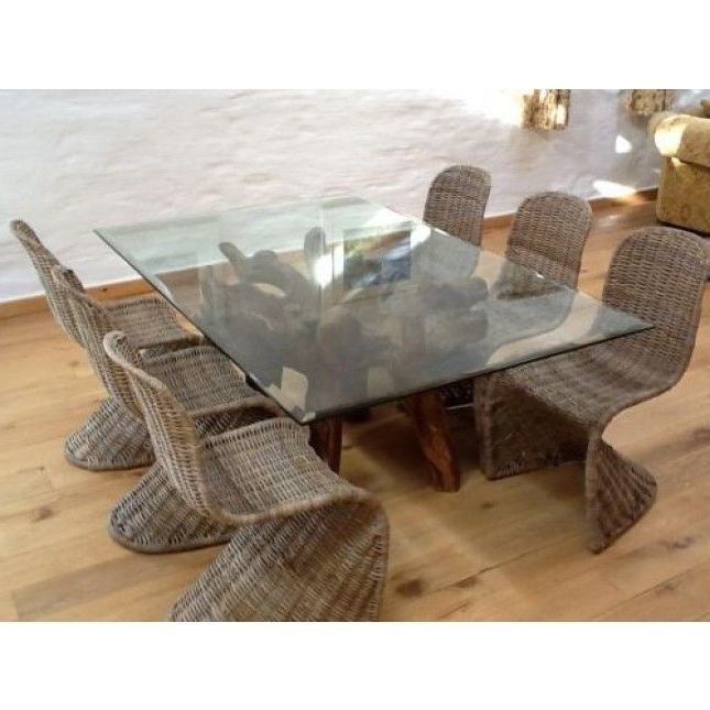 Wicker And Glass Dining Tables Within Most Up To Date Reclaimed Teak Root Glass Topped Dining Table 1.8m X (View 7 of 20)