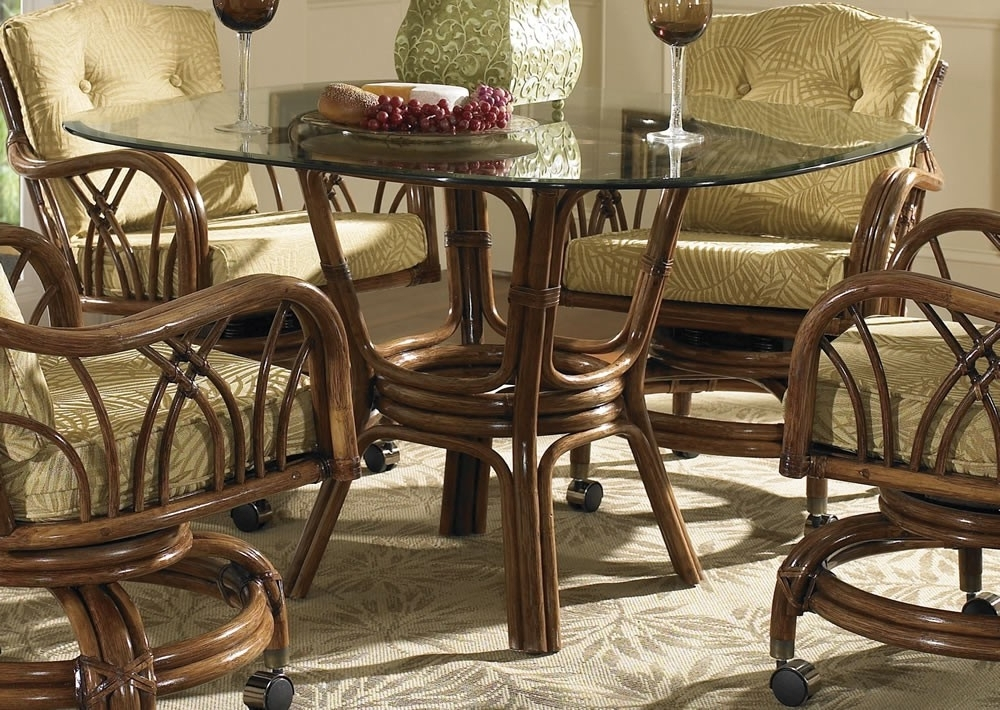 Featured Photo of Wicker And Glass Dining Tables