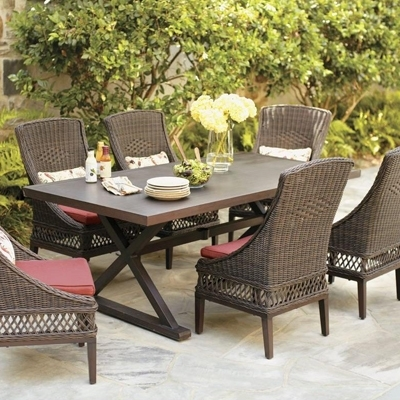 Wicker Patio Furniture Sets – The Home Depot With Most Recently Released Outdoor Dining Table And Chairs Sets (View 12 of 20)
