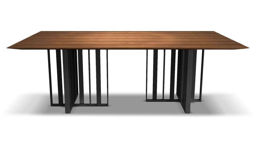 Widely Used 87 Inch Dining Tables Throughout Modern Saida Rectangular Dining Table – Walnut On Titanium (View 20 of 20)