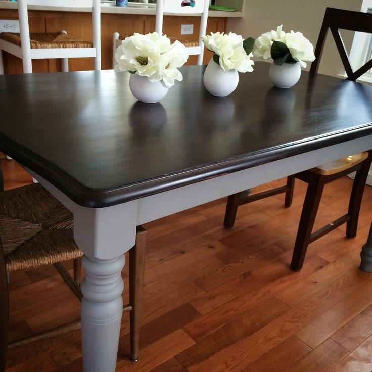 Widely Used Annie Sloan Chalk Paint French Linen And Java Stain Over An Old Inside Washed Old Oak & Waxed Black Legs Bar Tables (View 7 of 20)