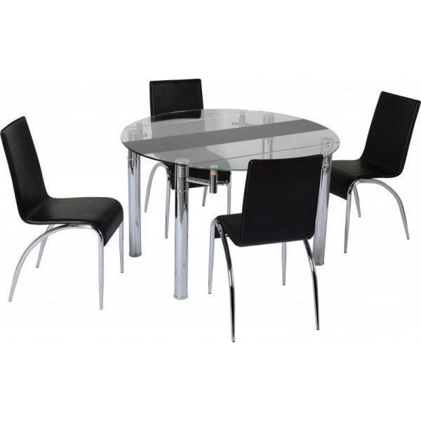 Widely Used Black Glass Dining Tables And 4 Chairs Regarding Cheap Seconique Chloe Extending Black / Clear Glass Small Dining (View 18 of 20)