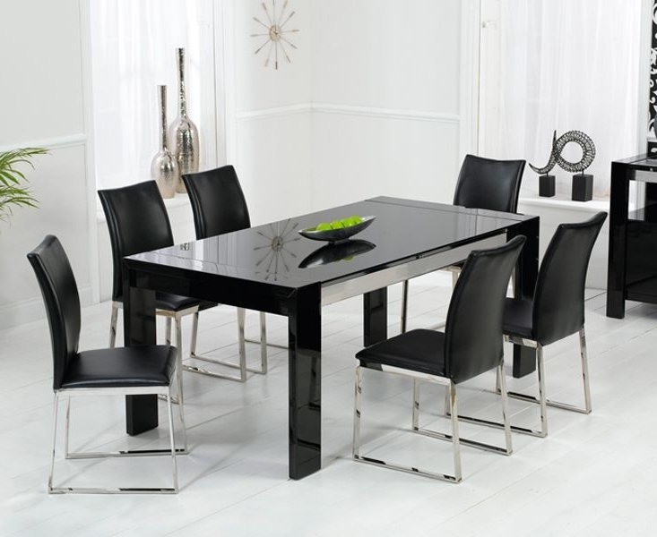 Widely Used Black Gloss Dining Sets For Enchanting Black High Gloss Dining Table And Chairs (View 20 of 20)